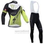 Men's Specialized RBX Comp Cycling Jersey Long Sleeve Bib Tight 2014 Black Green
