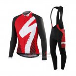 Men's Specialized RBX Comp Cycling Jersey Long Sleeve Bib Tight 2016 White Red Black