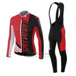 Men's Specialized RBX Sport Cycling Jersey Long Sleeve Bib Tight 2015 Black Red