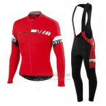 Men's Specialized SL Elite Cycling Jersey Long Sleeve Bib Tight 2015 Red White