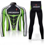 Men's Specialized RBX Comp Cycling Jersey Long Sleeve Bib Tight 2010 Green Black